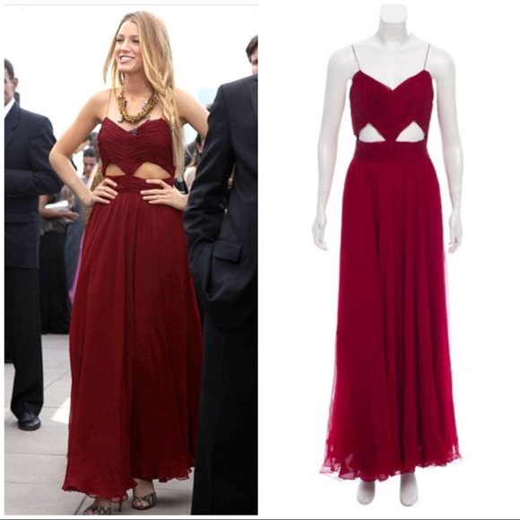 J Mendel Burgundy Red Cutout Dress Gown 8